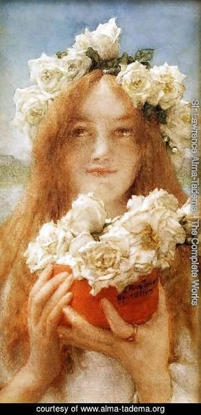 Sir Lawrence Alma-Tadema - Summer Offering (or Young Girl with Roses)