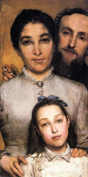 Sir Lawrence Alma-Tadema - Portrait of Aime-Jules Dalou, his Wife and Daughter