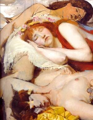 Sir Lawrence Alma-Tadema - Exhausted Maenides after the Dance
