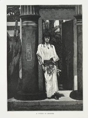 A man dressed in white robes and a thick belt, leaning against a pillar