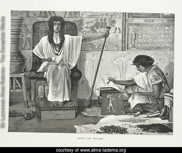 Depiction of Joseph reading to the Pharaoh