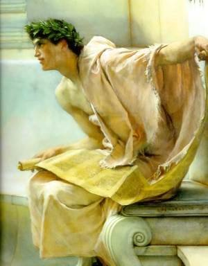 Sir Lawrence Alma-Tadema - A Reading From Homer   Detail