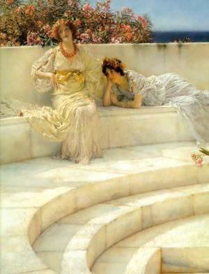 Sir Lawrence Alma-Tadema - Under The Roof Of Blue Ionian Weather   Detail